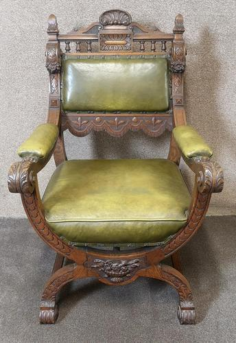 Late Victorian Carved Oak & Leather Armchair (1 of 14)