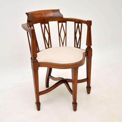 Antique Edwardian  Inlaid Mahogany Corner Chair (1 of 11)