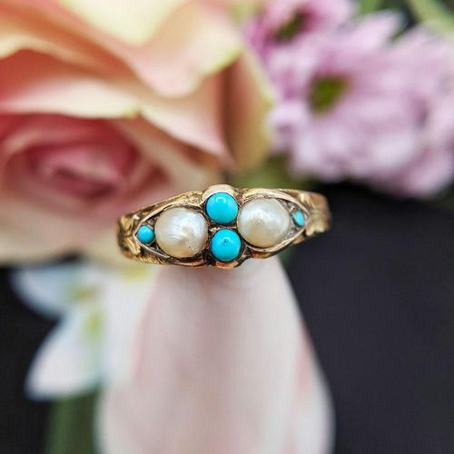 Antique Victorian 15ct Gold Turquoise & Pearl Ring (1 of 9)