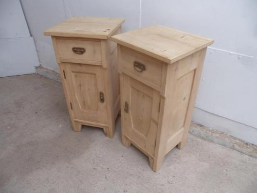 Small Pair of Antique Pine Victorian Bedside Cabinets to wax / paint (1 of 8)