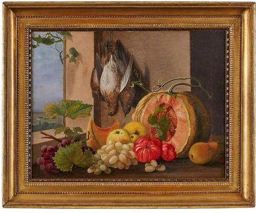 19th Century Still Life with Grapes, Pumpkin, Tomatoes Oil on Canvas (1 of 12)
