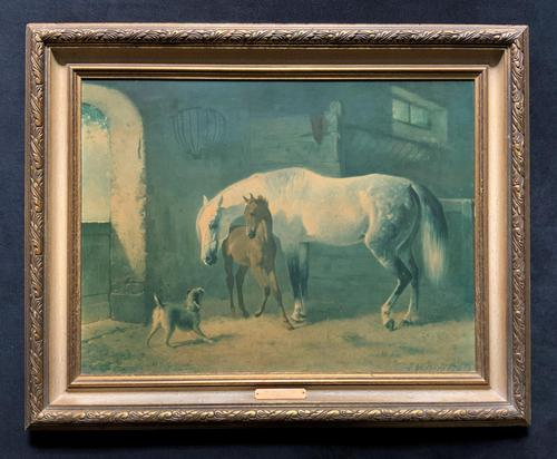 Aft: Emil Volkers Beautiful Vintage Framed Equestrian Print On Board (1 of 12)