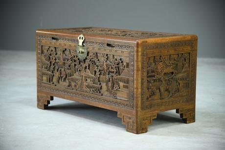 Chinese Carved Camphor Chest (1 of 8)