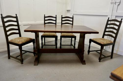 Oak Refectory Table with Set of 4 Chairs (1 of 8)
