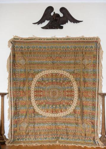 Large Vintage Middle Eastern Embroidered Silk Wall Hanging (1 of 10)