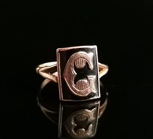 Antique Victorian Mourning Ring, Initial C, 9ct Rose Gold (1 of 10)