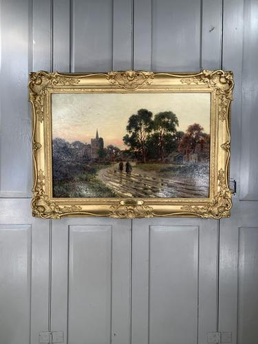 Antique Victorian Landscape Oil Painting In Gilt Gesso Frame Entitled Sunday Evening by R Halfnight (1 of 10)