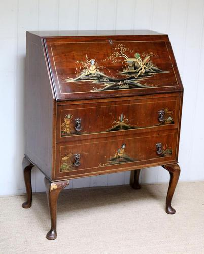 Walnut Chinoiserie Bureau (1 of 10)