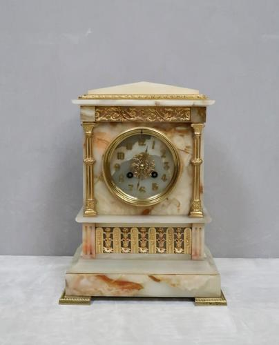 French Neoclassical Alabaster & Bronze Gilt Mantel Clock (1 of 7)