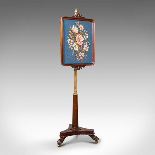 Antique Fireside Pole Screen, English, Rosewood, Needlepoint, William IV c.1830 (1 of 12)
