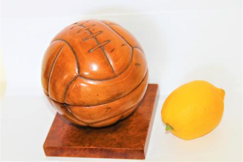 Unusual French Carved Wood Football Lidded Box (1 of 7)