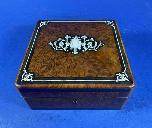 Victorian French Burr Cedar Jewellery Box with Inlay & Original Interior (1 of 13)