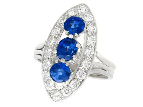 1.60ct Sapphire & 1.05ct Diamond, 18ct White Gold Cluster Ring - Vintage French c.1970 (1 of 9)