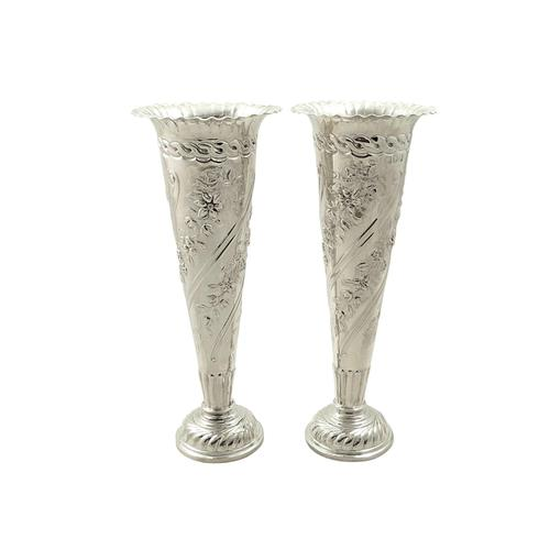 "Pair of Antique Victorian Sterling Silver 6 1/2"" Vases 1896 (1 of 9)"