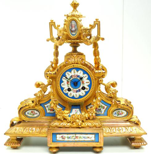 Stunning Quality French Mantel Clock Urn Top Blue Sevres Porcelain Mantle Clock. (1 of 12)