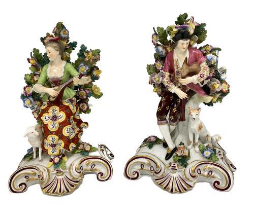 Antique Pair of Samson Porcelain Figural Groups c.1870 (1 of 10)