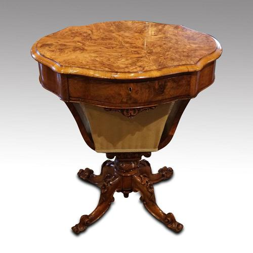 Victorian Oval Walnut Work Table (1 of 8)