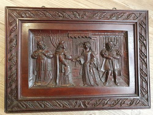 A 19thc Mahogany Carved Relief Panel Depicting Tudor Interior Scene (1 of 7)