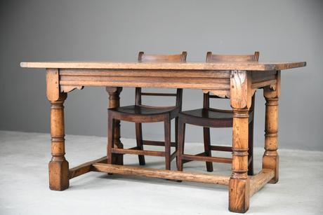 Country Antique Style Oak Refectory Kitchen  Dining Table (1 of 12)