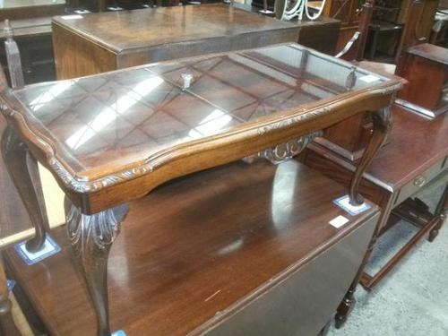 Glass Topped Mahogany Coffee Table (1 of 3)