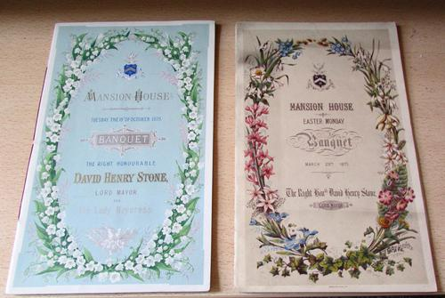 2 x  Music Programmes for Banquet for The Right Honorable David Henry Stone, 1875 (1 of 6)
