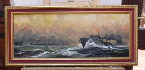 Oil on Board Battle on the Ocean Wave Listed Artist Dion Pears (1 of 12)