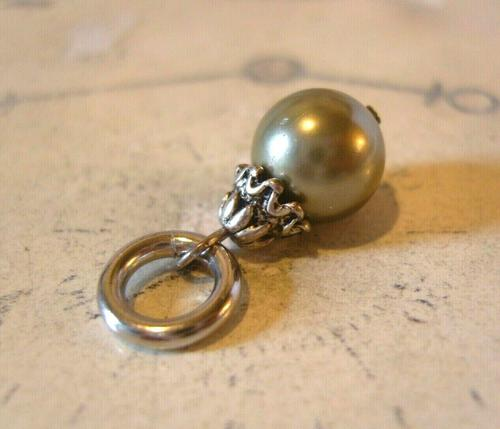 Vintage Pocket Watch Chain Fob 1950s Victorian Revival Silver Chrome & Pearl Fob (1 of 7)