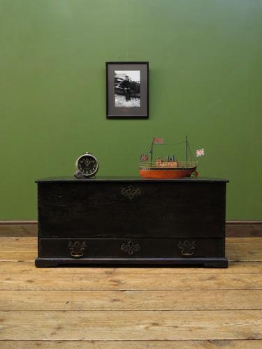 Antique Black Chest Trunk Storage Box, Ebonized finish, Gothic (1 of 18)