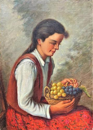 The Fruit Seller - Attractive Original Early 1900s Italian Oil Portrait Painting (1 of 10)