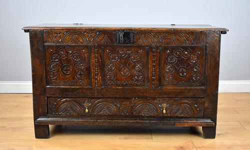 17th Century Oak Carved Coffer with Drawer (1 of 14)