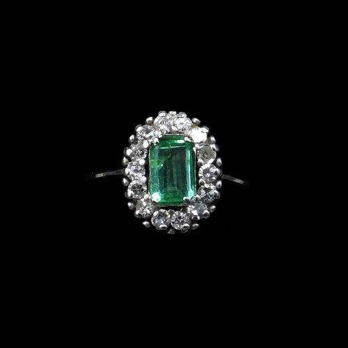 Vintage Emerald & Diamond 18ct White Gold Oblong Cluster Ring (1 of 6)