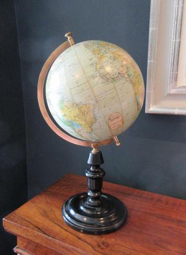 "1920's 8"" Papier Mache Terrestrial Globe (1 of 7)"