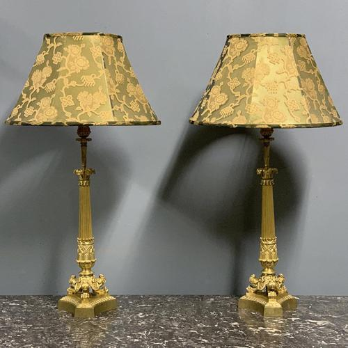 Pair of Regency style gilt bronze lamps with shades (1 of 6)