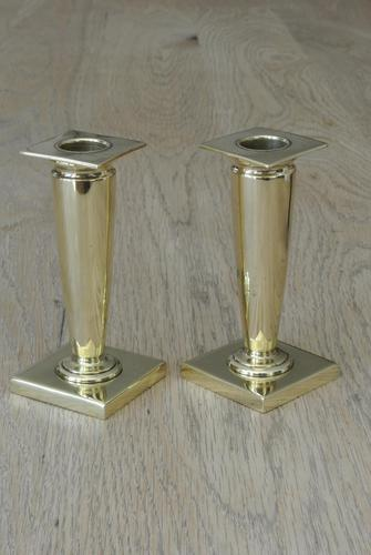 Pair of William Tonks English Art Nouveau Brass Candlesticks Registered Number for 1904 (1 of 7)