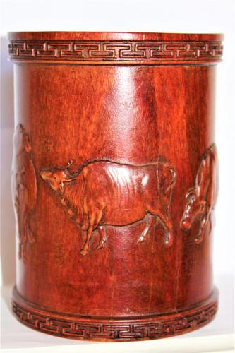 Superb & Finely Carved Chinese Hardwood Brush Pot (1 of 8)