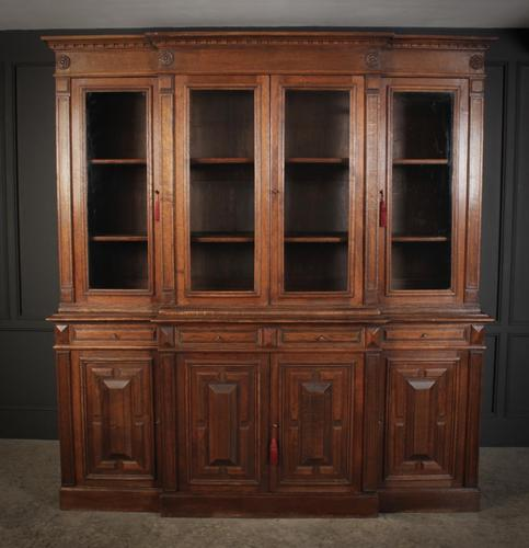 Large French Oak Breakfront Bookcase (1 of 19)