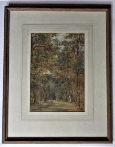 Mary Smirke - Girls on a Woodland Path, Watercolour, Framed (1 of 8)