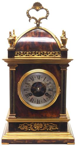 Incredible French Shell Mantel Clock French Cubed 8-day Miniature Bracket Clock (1 of 11)