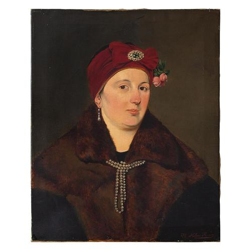 Helene Russo, Portrait of Lady in Furs, Oil Painting (1 of 7)