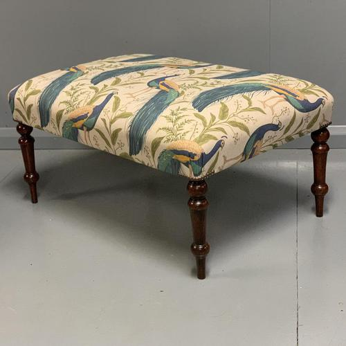 Regency Centre Footstool newly upholstered (1 of 4)