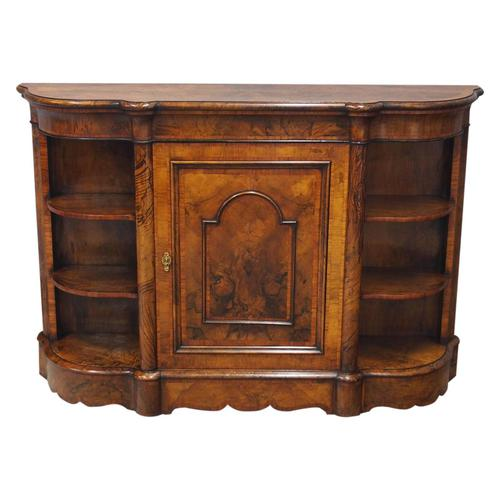 Victorian Serpentine Burr Walnut Credenza (1 of 9)