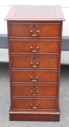 1960s Mahogany Tall Filing Cabinet with Red Leather Top (1 of 4)