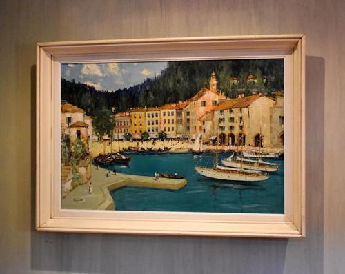Italian lake scene oil painting by Godwin Bennett (1 of 8)