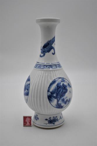 Chinese Blue & White Porcelain Ribbed Vase-19th Century (1 of 9)
