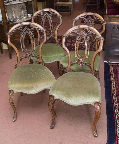 4 Very Pretty Walnut Dining Chairs (1 of 4)