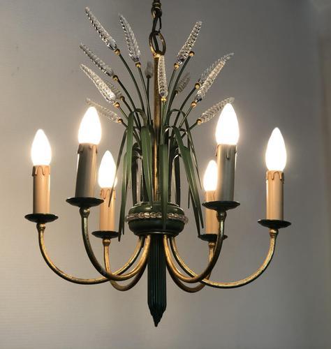 Vintage Art Deco Style Murano & Toleware Wheatsheaf Ceiling Light Chandelier (1 of 12)