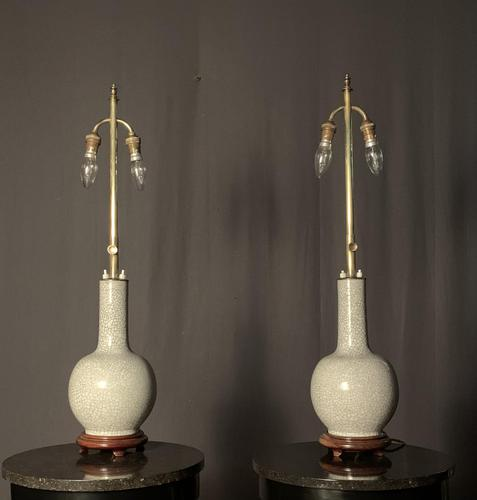 Pair of Tall Oriental Adjustable Grackle Glaze Lmps (1 of 9)