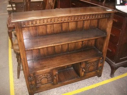 Solid Oak Open Bookcase with Lower Cupboards (1 of 4)