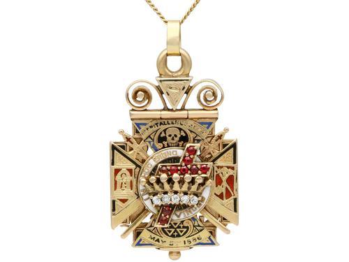 0.29ct Diamond, 0.20ct Ruby & Enamel, 12ct Yellow Gold Masonic Pendant / Watch Fob - Antique c.1900 (1 of 15)