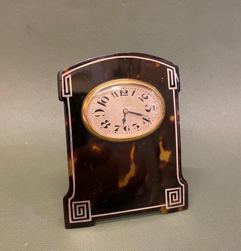 """Charming Art Deco Period Tortoiseshell & Silver-mounted """"Easel"""" or Bedroom Timepiece (1 of 6)"""
